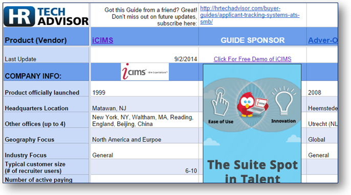 HR Tech Advisor Buyers Guide to Applicant Tracking Systems (ATS) for SMB Market