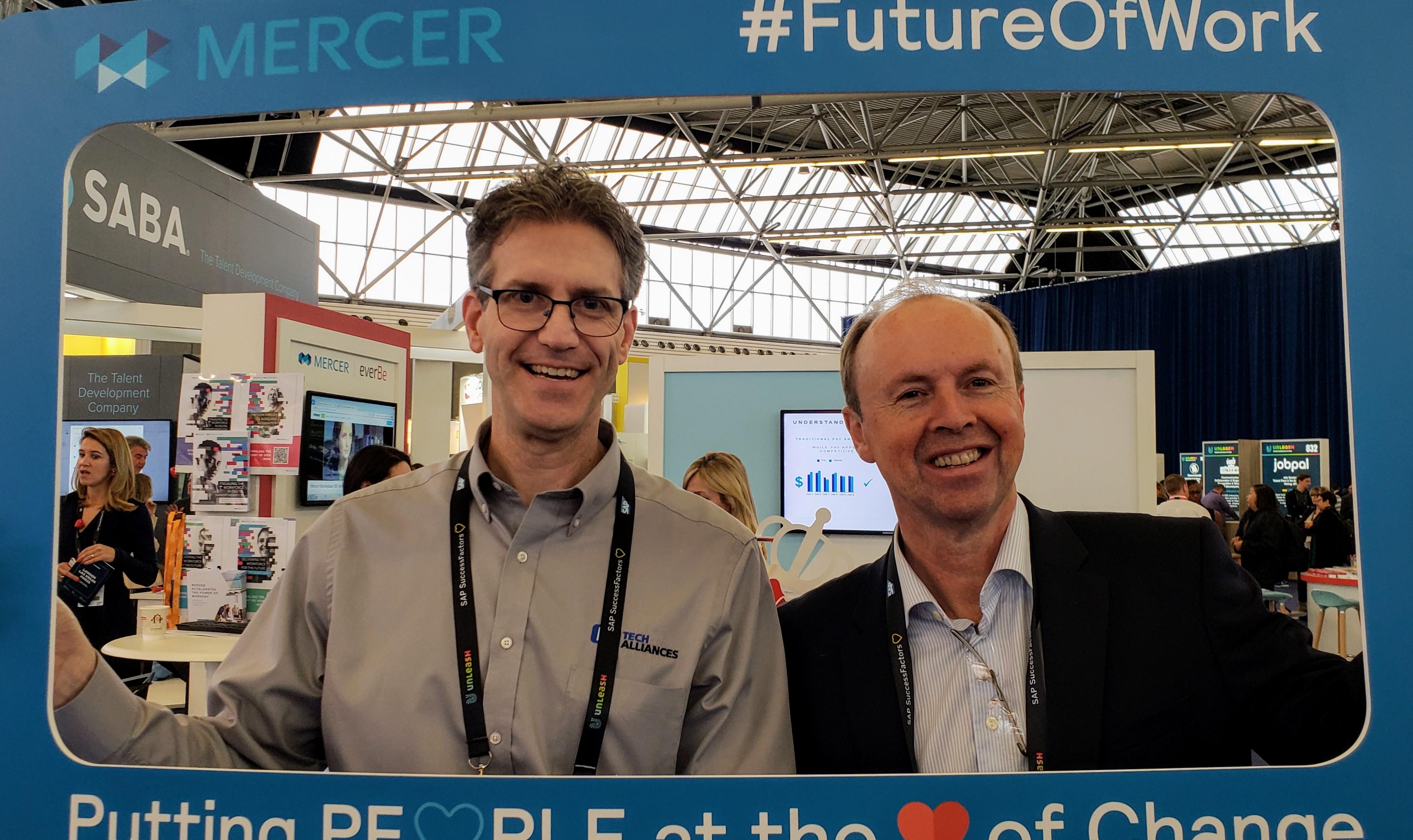 Ward Christman & John Cusack hamming it up at #UNLEASH18 in Amsterdam @Mercer #FutureOfWork booth #HRTech